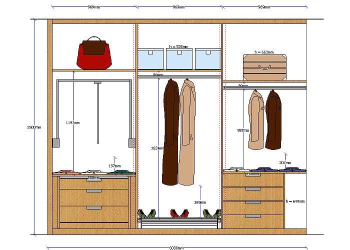 Planos de planta y alzado de armarios totalmente acotados
